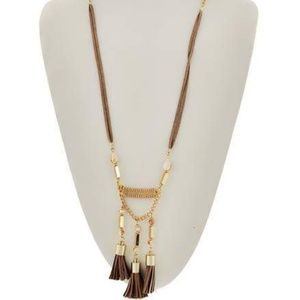 Gold and Brown Tassel Necklace